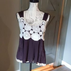 Anthropologie satin, cotton and crocheted tank